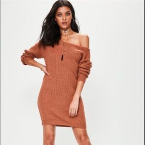 Brown Off Shoulder Knitted Sweater Dress